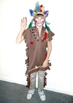 Here's how to make fun and easy Indian, or Native American, costumes for your children for Halloween, with very little sewing!