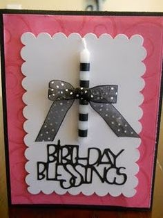 Birthday card with candle embeliishment