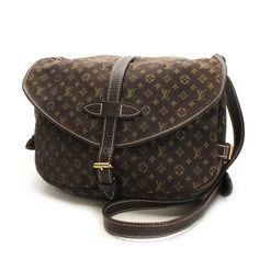 Louis Vuitton Saumur 30 Monogram Mini Lin Cross body bags Brown Cotton M95227