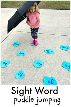 Puddle Jumping Sight Word Game for preschool and kindergarten spring reading fun! Puddle Jumping Sight Word Game for preschool and kindergarten spring reading fun! Kindergarten Learning, Toddler Learning Activities, Fun Learning, Preschool Activities, Teaching Kids, Preschool Behavior, Outdoor Learning, Teaching Toddlers Letters, Outdoor Activities For Preschoolers