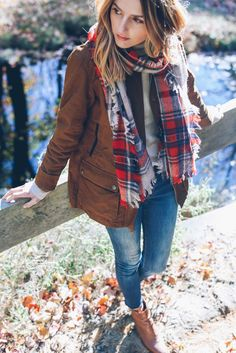 Field Jacket and Plaid Scarf Prosecco and Plaid
