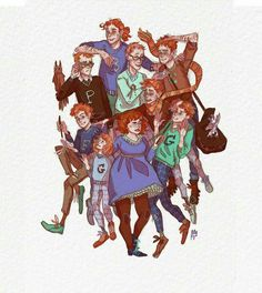 The Weasley Family- Harry Potter Harry Potter Artwork, Harry Potter Drawings, Harry Potter Love, Harry Potter Fandom, Harry Potter World, Gina Weasley, Must Be A Weasley, Weasley Twins, Familia Weasley