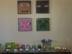 Minecraft Character faces for party decoration. Minecraft Birthday Party.