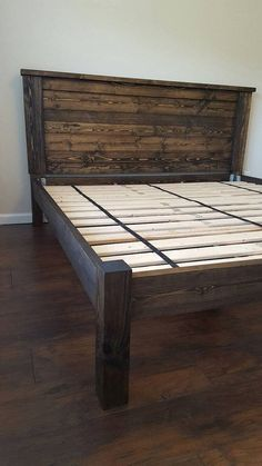 How to build a beautiful DIY bed frame & wood headboard easily. Free DIY bed plan & variations on king, queen & twin size bed, best natural wood finishes, and lots of helpful tips! - A Piece of Rainbow Pallet Furniture, Furniture Projects, Home Furniture, Bedroom Furniture, Luxury Furniture, Pallet Projects, Diy Pallet, Furniture Design, Pallet Beds