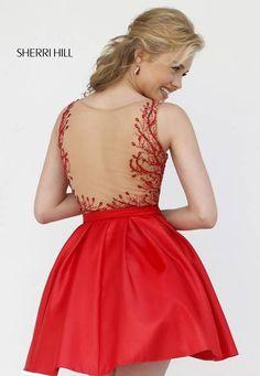 2015 Sherri Hill 9755 Beaded Sheer Back Red Homecoming Dress