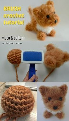 Dog Amigurumi Pattern - Brush Crochet - Ami Amour-Dog Amigurumi Pattern – Brush Crochet – Ami Amour A free Amigurumi Dog pattern that shows you how to use Brush Crochet to create the most adorable fluffy doll with a realistic furry look. Cute Crochet, Crochet Crafts, Crochet Projects, Dog Crochet, How To Crochet, Things To Crochet, Crochet Cupcake, Crochet Gloves, Crochet Hair