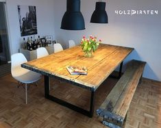 Table of scaffolding planks Dining Area, Dining Table, Table Legs, Plank, Wood, Interior, Furniture, Things To Sell, Home Decor