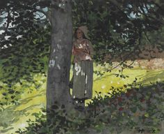 lawrenceleemagnuson:  Winslow Homer (1836-1910) A Shady Spot, Houghton Farm (1878)watercolor and gouache on paper 17.8 x 21 cm