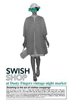 Swish Shop pop up poster designed by Ailsa Ash