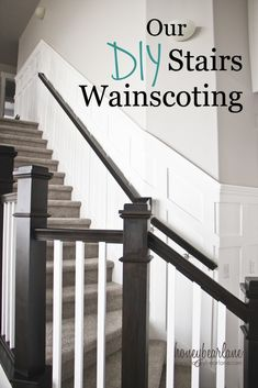6 Grand Tips AND Tricks: Wainscoting Dining Room Baseboards white wainscoting banisters.Stained Wainscoting Board And Batten white wainscoting interior.Stained Wainscoting Board And Batten. Stairs Balusters, Stair Banister, Diy Stair, White Banister, White Stairs, Stair Decor, Stairway Wainscoting, Dining Room Wainscoting, Wainscoting Ideas