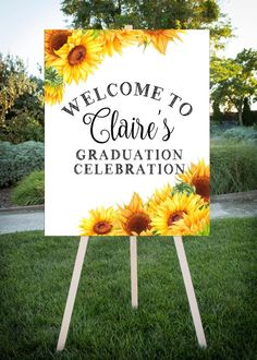 Graduation Party Decor Discover Graduation Party Sunflower theme Grad Party Printable Sign Customized with grad name Large format printable jpg Outdoor Graduation Parties, Graduation Party Planning, College Graduation Parties, Graduation Celebration, Graduation Party Decor, Grad Parties, Graduation Ideas, Graduation Gifts, Graduation Desserts