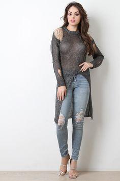 Shredded Metallic Loose Knit Longline Top - The Diva Boudoir Fashion Models, Girl Fashion, Fashion Outfits, Womens Fashion, Fashion Trends, Beauty Full Girl, Beauty Women, Sexy Jeans, Hot Dress