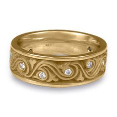 wide wind and waves with diamonds wedding ring in 14k yellow gold - Medieval Wedding Rings