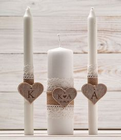 Wedding Unity Candle Set Rustic Unity Candle Church Ceremony Set Personalized Unity Candle Wedding Ceremony Custom Candle for a Vow Renewal