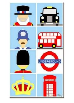 This pattern bundle features 8 London themed patterns. Included in this bundle are patterns for:- London Bobby- London Beefeater- London Guard- Taxi cab- Double decker bus- Underground symbol- Crown- Phone booth. Each pattern makes a 10
