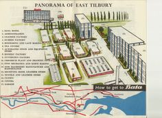 Bata East Tilbury pictorial panorama plan of factory units 1965 Bata Shoes, Bartlett School Of Architecture, Leather Factory, Heritage Center, Lace Making, Footprints, British Isles, Tilbury, Places To Visit