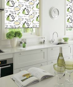 Gorgeous time for tea jasmine roller blinds. Add some fabulous hues to your window with these beautiful Roller Blinds Kitchen, Kitchen Window Blinds, Blinds For Windows, Kitchen Windows, Pine Kitchen Cabinets, Kitchen Cabinet Styles, Kitchen Cabinet Doors, Kitchen Countertops, Retro Kitchen Tables