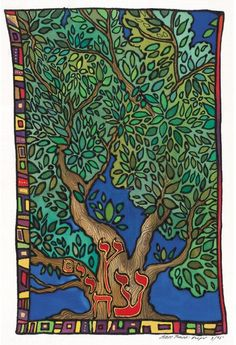 Tree of life Jewish Art Judaica Tu B'Shevat Jewish Holiday art