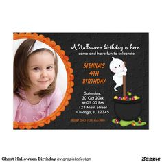 #zazzle Sold this #ghost #halloween #kids #birthday #invitations to GA.  Thanks for you who purchased this. Check more at www.zazzle.com/graphicdesign/halloween
