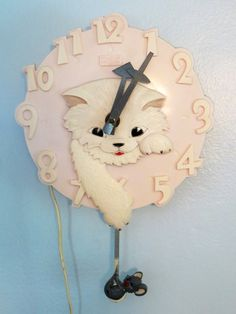 RARE 1960s Pink Kitty Cat & Mouse Spartus by ThirdFloorRetro, $55.00