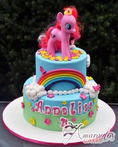 Two tier My Little Pony Cake - NC672 - Amarantos Cakes Melbourne - Two Tier My Little Pony Cake   Nc672   Amarantos Cakes Melbourne