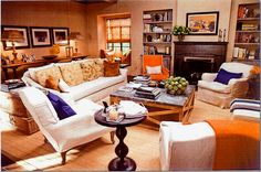 Another view of the It's Complicated movie house - family room  Use of orange and blue