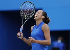 USA's Madison Keys celebrates victory in the semi finals against Jelena Ostapenko at the Aegon Classic.