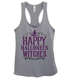 Funny Holiday Gym Tanks Happy Halloween Witches  Little Royaltee Shirts Boutique XLarge Grey >>> Click image for more details.