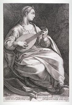 Thalia Hendrick Goltzius (Dutch, Mühlbracht 1558–1617 Haarlem) - 'Terpsichore' from The Nine Muses, 1592.