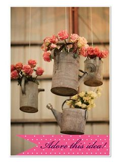 Fun wedding decor ideas & DIY hanging watering can flower vases for rustic country wedding ideas Handmade Wedding, Diy Wedding, Dream Wedding, Wedding Day, Wedding Blog, Wedding Rustic, Wedding Country, Country Weddings, Budget Wedding