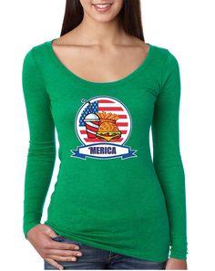 Women's Shirt Fast Food 'merica Love USA 4th Of July Tee