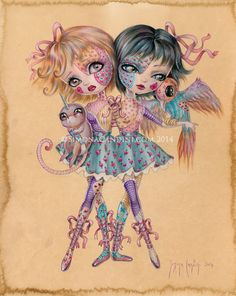 Stitched LIMITED EDITION print signed numbered Simona Candini lowbrow pop surreal art big eyes sisters conjoined twins dolls creepy cute