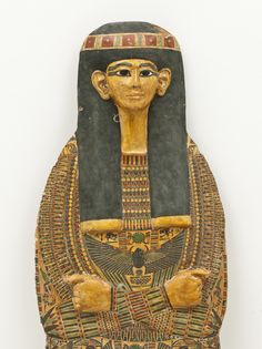 Coffin from the mid-21st Dynasty c.a. 1000 - 968 B.C.Medium: Wood,overlaid with gesso and polychrome decoration and yellow varnish.