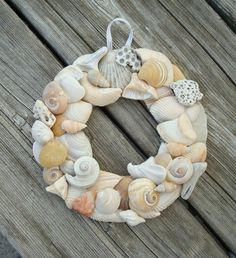 seashell wreath/use medium tto large shells on round foam [ craft store,walmart,amazon,etc] would paint some shells w/pearly type nail polish, then use spray laquer.
