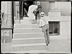 The Sunday porch/enclos*ure: Baltimore stoop, 1938, by John Vachon, Library of Congress.