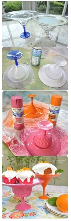 Cake plates made out of dollar store mix and matched plates and cups, glued, and spray painted.