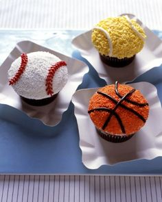 Home Run Cupcakes - from Martha Stewart, of course.   I pinned this specifically for the decorating idea for the baseball cupcakes.  I doubt I'll roll them in the white sprinkles, but will definitely use them as a guide for my red lace icing pattern. (This is just 1 of 25 'Sport Fan Cake & Cupcake Recipes' found in this link - and I think I will have to try ALL of them . . . they all sound so good!)