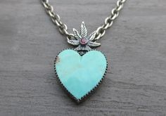 Sacred Heart of Mary Jane Pendant - 10% donation to NORML Women's Alliance - Cannabis Marijuana Pot Leaf Sterling Turquoise Ruby Pendant by Silverkind on Etsy
