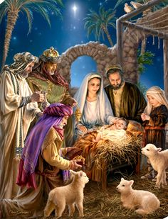 The Nativity Canvas Wall Art - Glow Decor Jesus Christmas Images, Merry Christmas Religious, Merry Christmas Pictures, Christmas Scenery, Christmas Nativity Scene, Merry Christmas To You, Noel Christmas, Vintage Christmas Cards, Nativity Scenes
