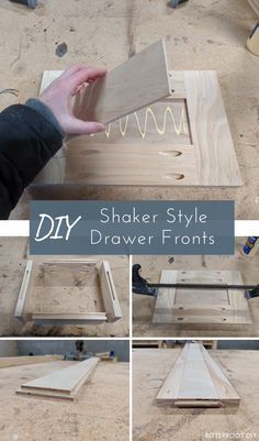 Step-by-step instructions to build DIY shaker drawer fronts - here are two ways to build shaker drawer fronts depending on your tools and skill level. Easy Woodworking Projects, Wood Projects, Woodworking Plans, Unique Woodworking, House Projects, Outdoor Light Fixtures, Outdoor Lighting, Diy Vanity, Built In Bookcase
