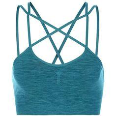Sweaty Betty Shanti Yoga Bra ($60) ❤ liked on Polyvore featuring activewear, sports bras, darkteal, sweaty betty, strappy sports bra, yoga sports bra, yoga activewear and yoga sportswear