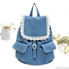 Wow~ Awesome  Lace Denim Lovely Mini College Grils Backpacks! It only $35.99 at www.AtWish.com! I like it so much<3<3!