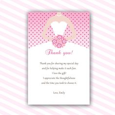 Silver Pink Bridal Shower Thank You Cards - Bouquet Bride Dress ...
