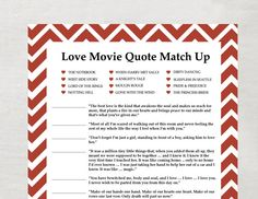 Love movie quote game for bridal shower... I like the idea but not a lot of the movies on there... id make my own!