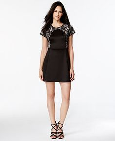 kensie Lace Contrast Neoprene Dress - Dresses - Women - Macy's