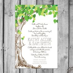 Lush Green Love Tree Wedding Invitation Set by ChristinaElizabethD