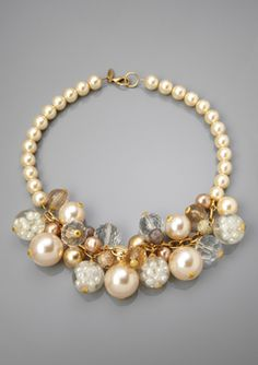 LENORA DAME Cream/Multi Faux Pearl and Multi-Bead Bib Necklace