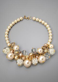 LENORA DAME Cream/Multi Faux Pearl and Multi-Bead Bib Necklace