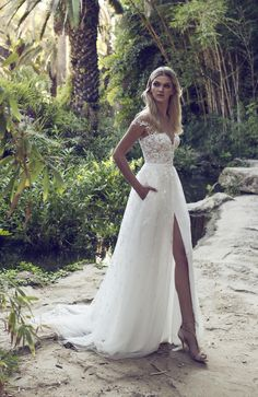 Stunning off the shoulder floaty slitted skirt with embellished lace detail wedding dress with beaded and flower details Harper by Limor Rosen (Exclusively Available 20th - 22nd January)