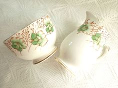 Vintage Sweet Pea China Cream and Sugar Bowl Roslyn England Reid and Co.
